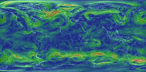 Klimamodell Earth Nullschool Projektion